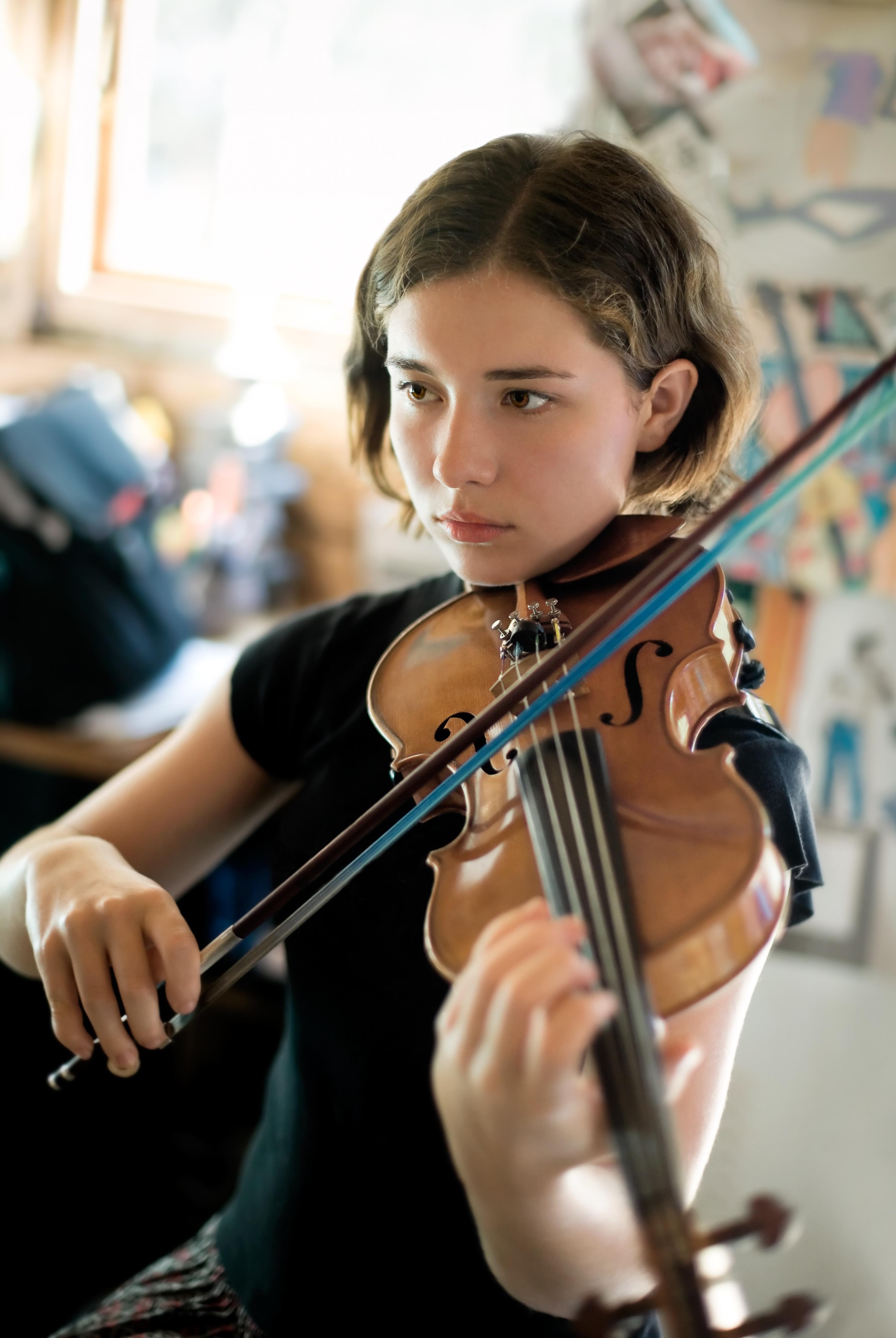 Girl Practicing Violin